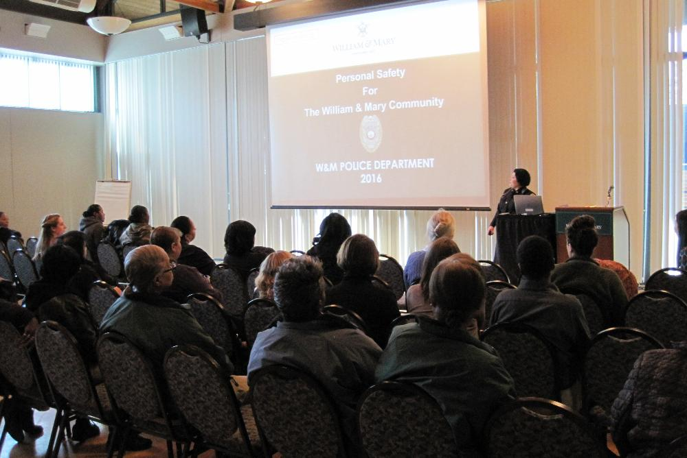 William & Mary Police Sergeant Erica Silva-Carl presents at the Personal Safety Workshop in February