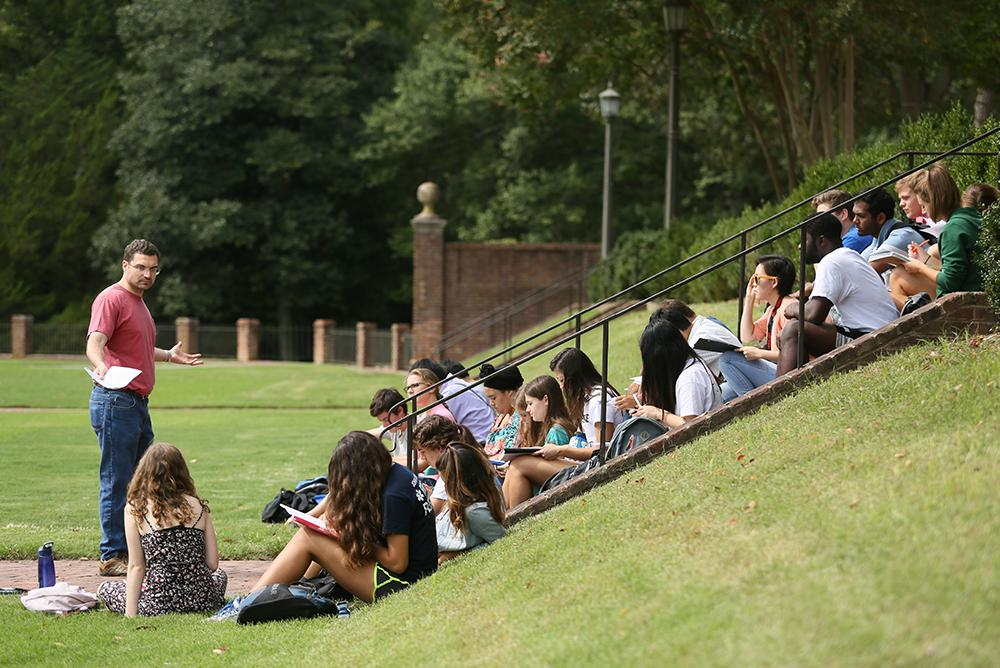outside, outdoors, people, students, faculty, classes, sunken garden, stairs, steps, trees