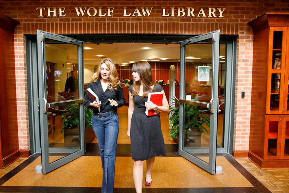 Law students outside Wolf Law Library