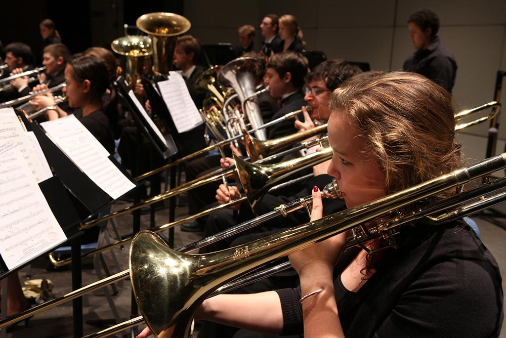 students, indoors, inside, people, arts, music, ensembles, horns, symphony, symphonies
