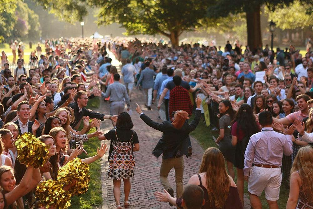traditions, students, people, convocations, outdoors, outside, cheers, cheering, opening, spirit, bricks, wren, courtyards, fall, autumn
