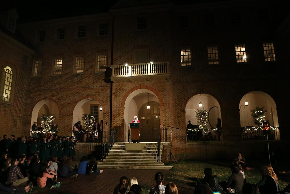 students, people, traditions, outdoors, outside, courtyards, holidays, winter, yule log, yule, tradi