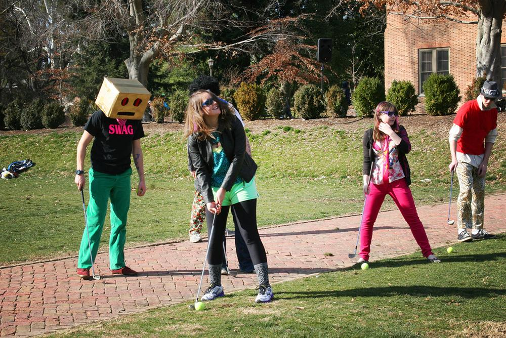 students, outside, outdoors, people, sunken garden, golf, fraternity, sorority, greek, sororities, fraternities, bricks, costumes