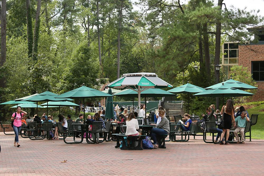 students, outdoors, outside, people, sadler terrace, terrace, sadler, sadler center, trees, studying, bricks, dining, food