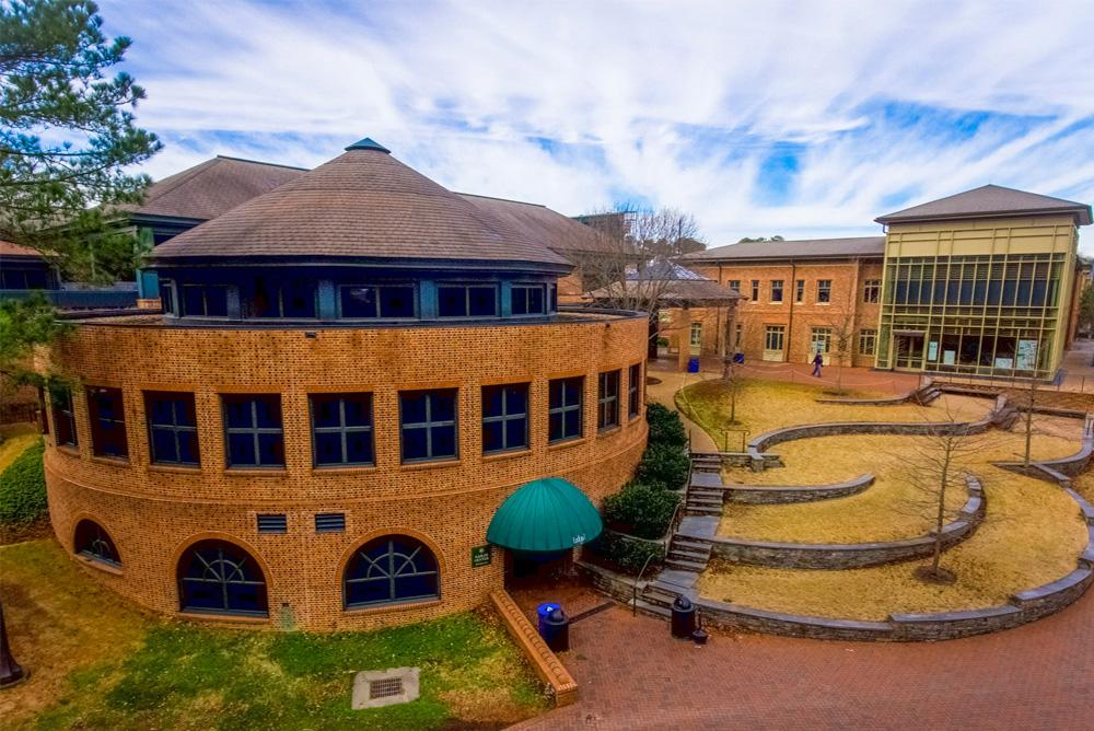 outdoors, outside, winter, sadler, sadler center, dining,  cohen career center, cohen, career center, trees, bricks, terrace, lodge 1, lodge one