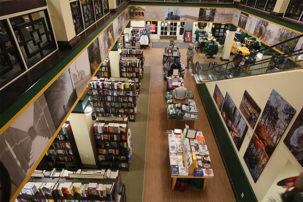 indoors, inside, bookstore, store, display, tables,  books, shop, shopping