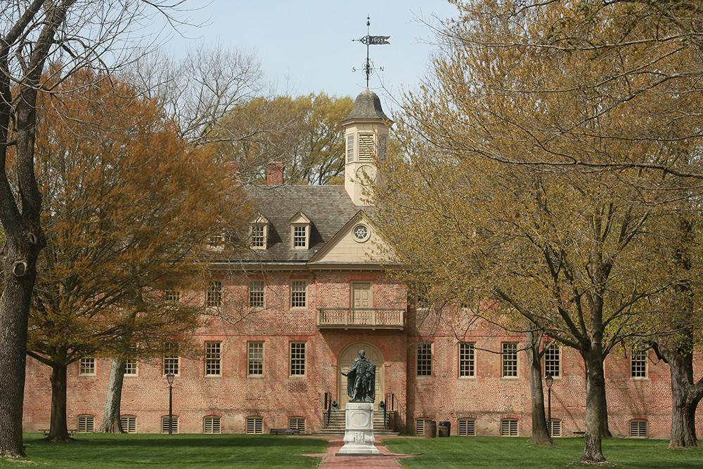 outdoors, outside, wren, trees, wren yard, front, lord botetourt statue