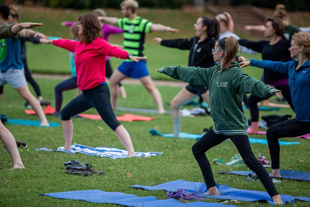 students, outdoors, outside, people, yoga, sunken garden, fitness, exercise, wellness